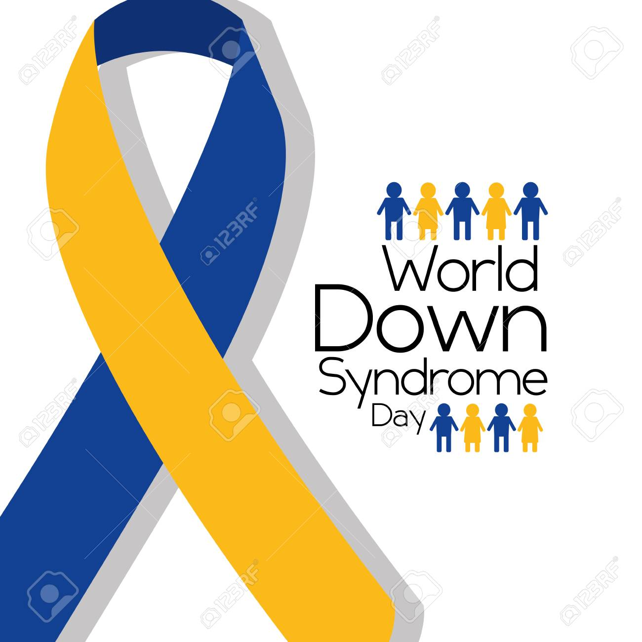 World Down Syndrome Day Awareness Ribbon People Royalty Free