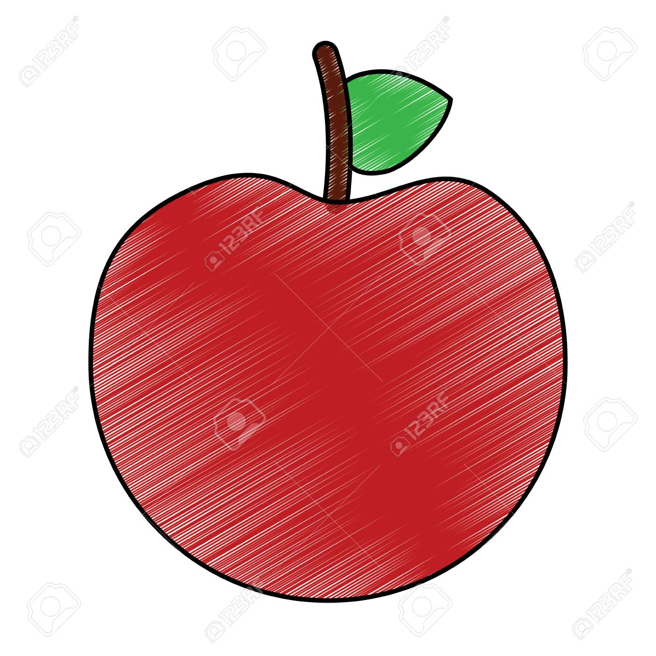 Fresh Tasty Fruit Apple Nutrition Diet Vector Illustration Drawing Royalty Free Cliparts Vectors And Stock Illustration Image 95142074