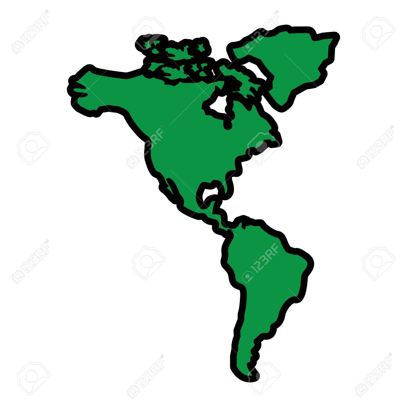 North And South America Map Continent Vector Illustration Green