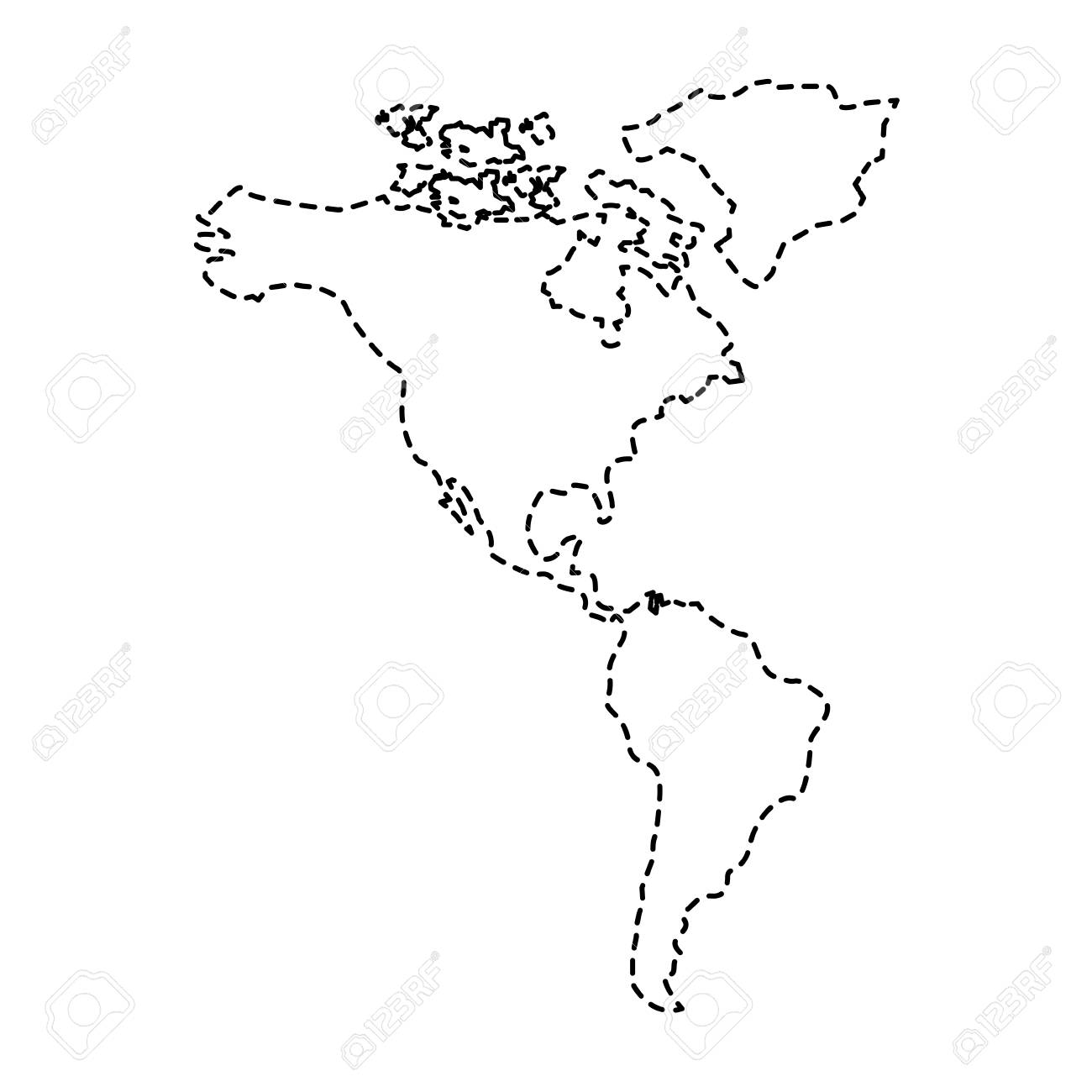 North And South America Map Continent Vector Illustration Sticker ...