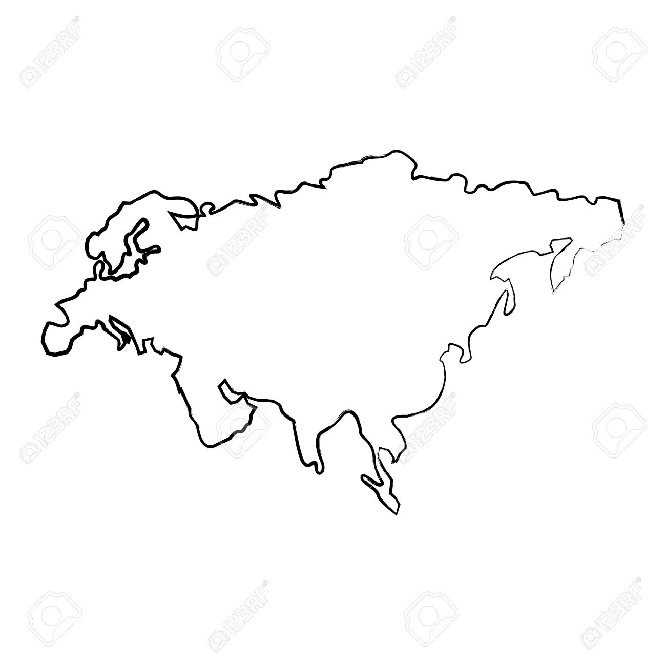 Map Of Asia Vector.Map Of Asia Continent Territory Silhouette Vector Illustration
