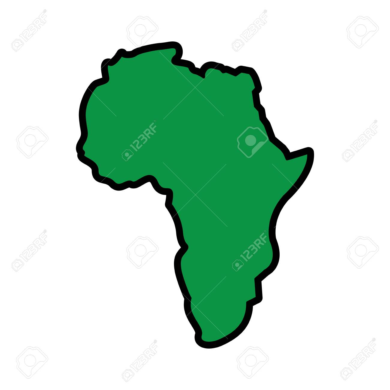 map of africa continent silhouette on a white background vector illustration green image - 95185571