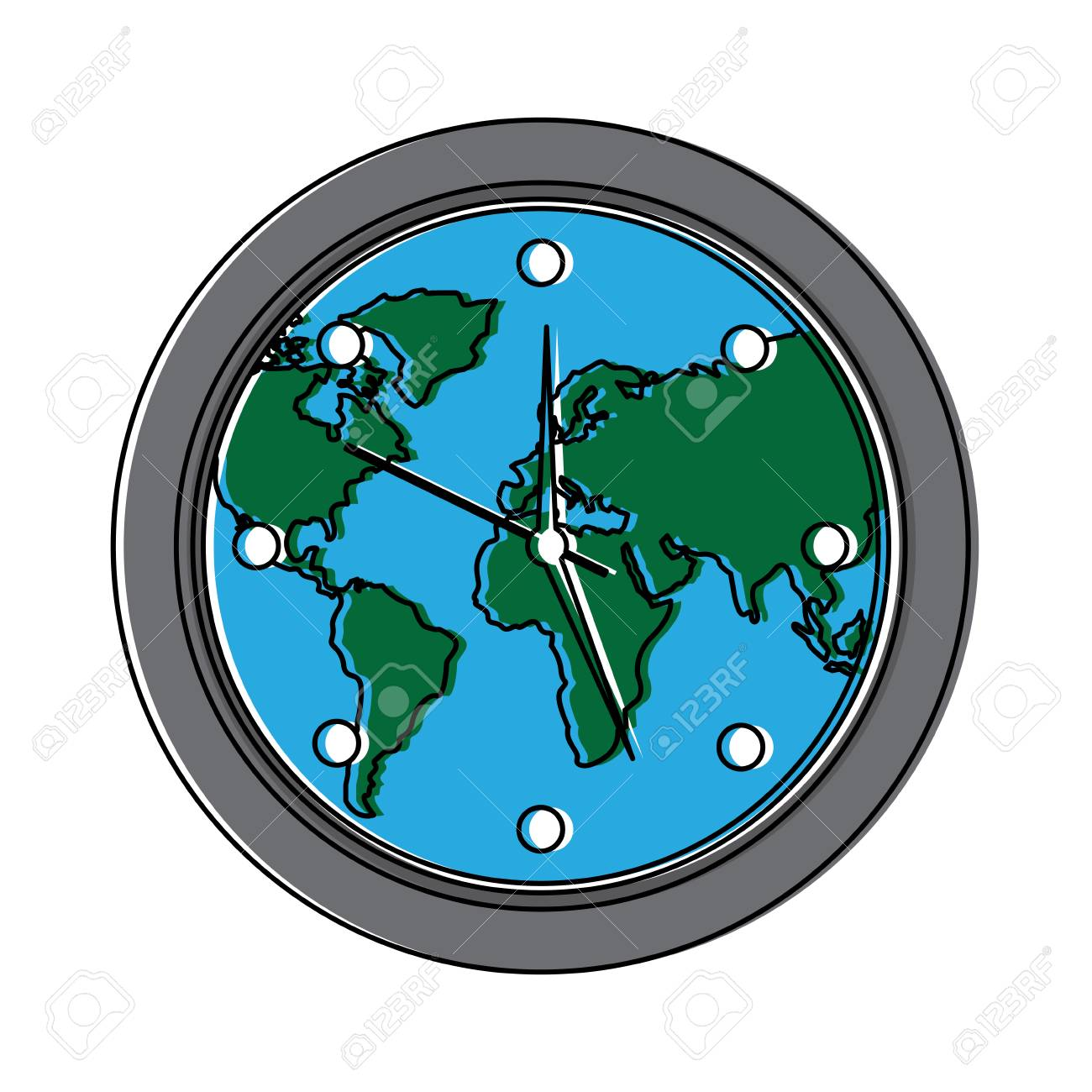 Round clock on world map ecology concept vector illustration royalty round clock on world map ecology concept vector illustration stock vector 95185620 gumiabroncs Image collections