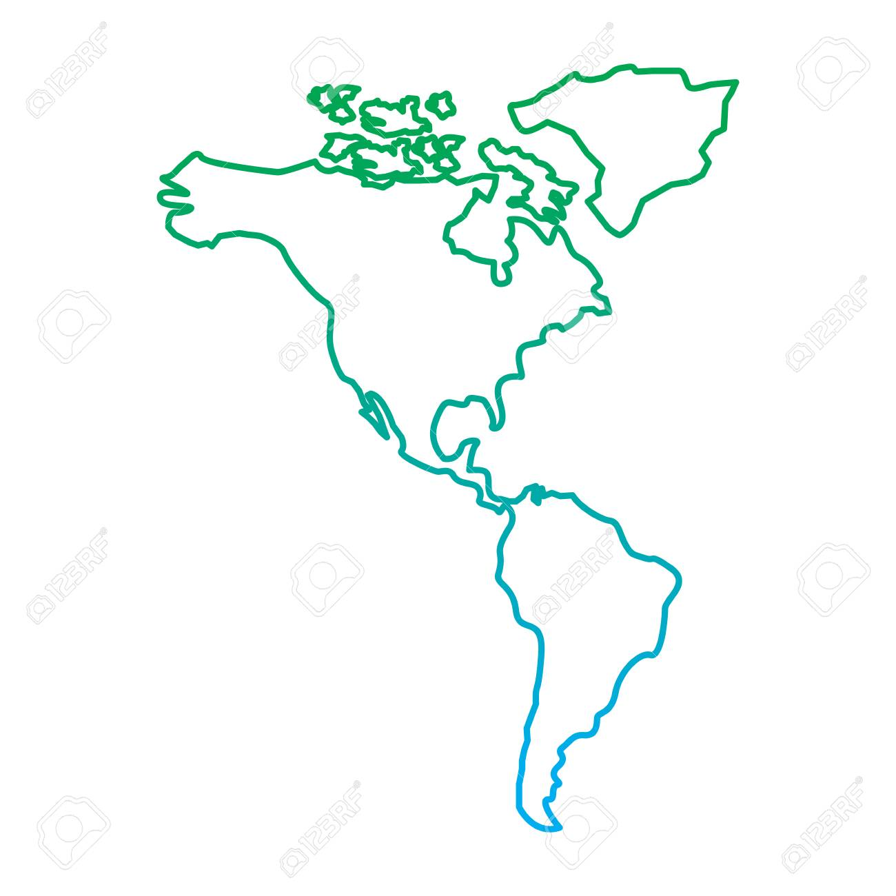 North And South America Map Continent Vector Illustration Blue ...