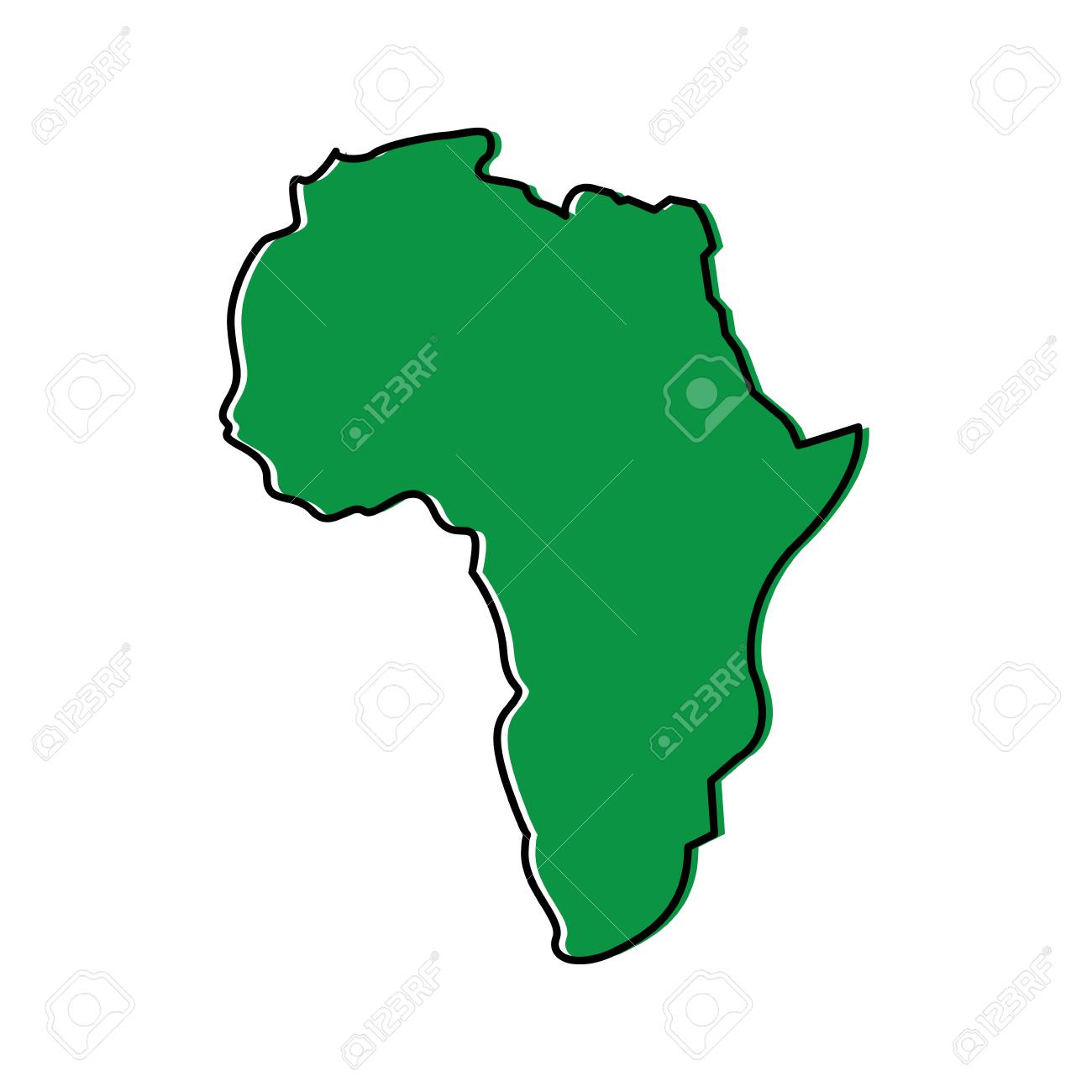 Map Of Africa Continent Silhouette On A White Background Vector Illustration Green Design Image Stock