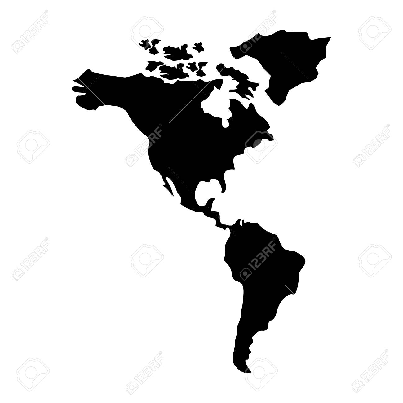 North And South America Map Continent Vector Illustration Pictogram ...