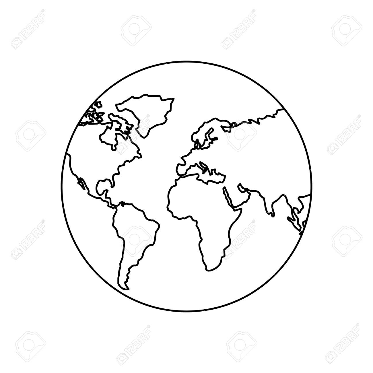 Earth Planet World Globe Map Icon Vector Illustration Outline Design Stock  Vector   95218902