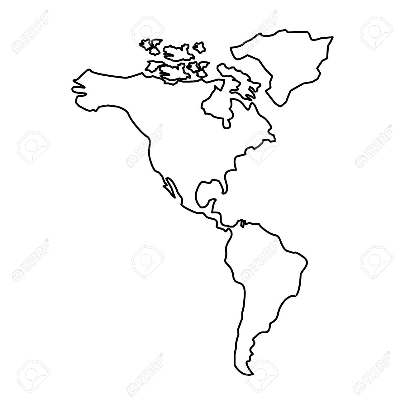 Map Of America Outline.North And South America Map Continent Vector Illustration Outline