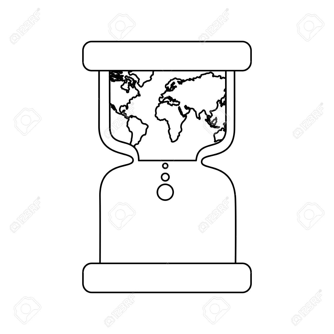 hourglass with earth world time conservation warming vector Online Timer Hourglass hourglass with earth world time conservation warming vector illustration outline design stock vector 95216931