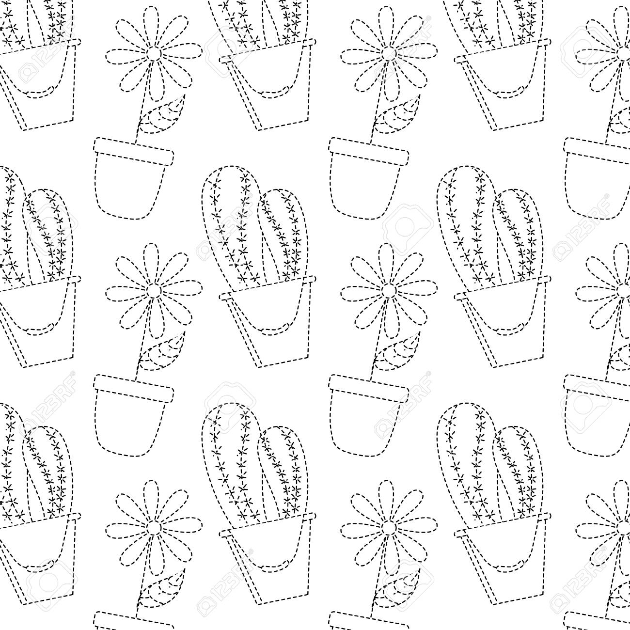Decorative Potted Flower And Cactus Plant Wallpaper Vector Illustration Royalty Free Cliparts Vectors And Stock Illustration Image 95335977