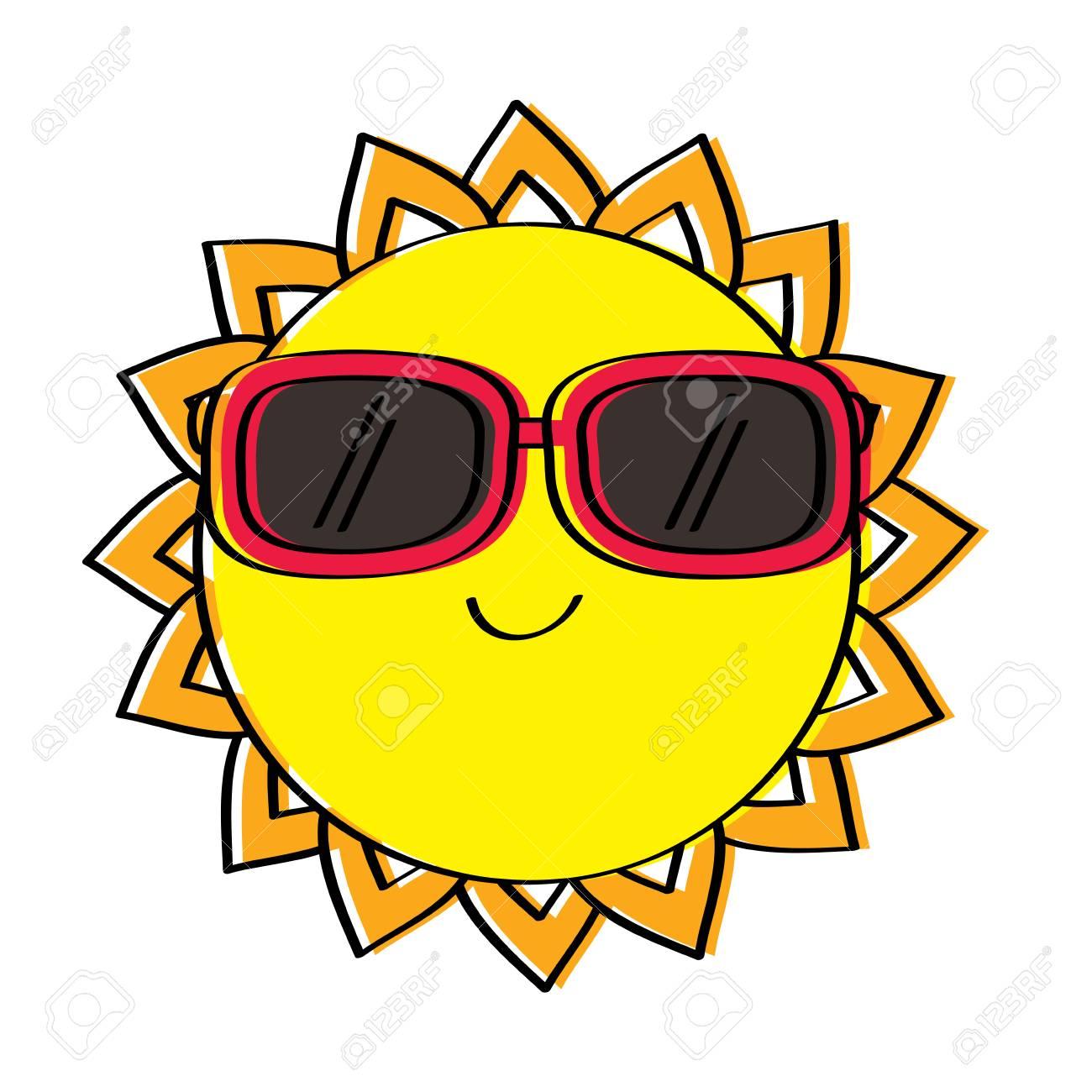 4f9dbeaecf cartoon sun wearing sunglasses summer character vector illustration Stock  Vector - 95335982