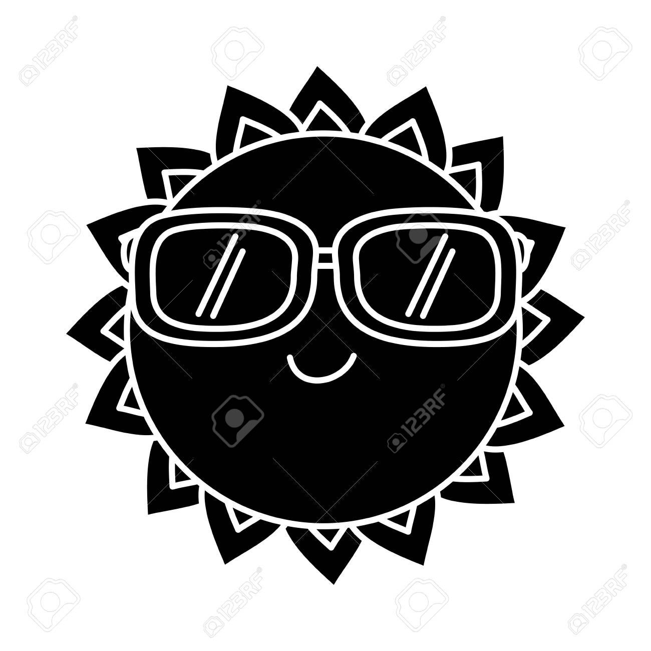e5dc68f8e8 cartoon sun wearing sunglasses summer character vector illustration black  and white design Stock Vector - 95335672