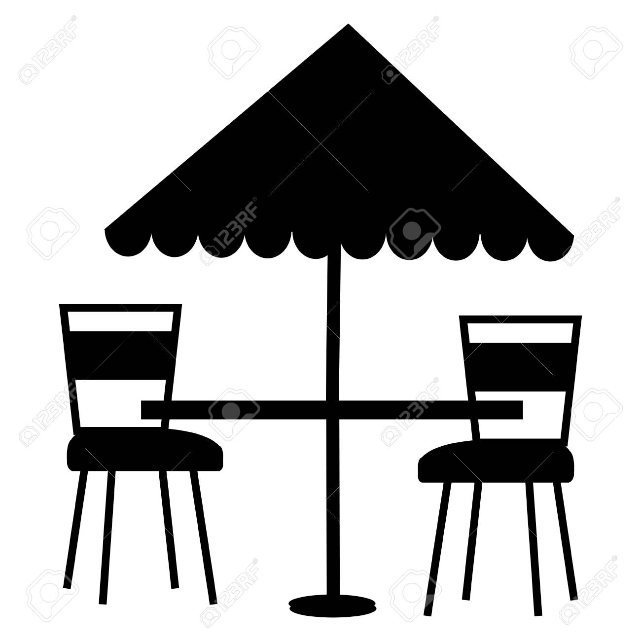 Restaurant Table With Parasol And Chairs Vector Illustration