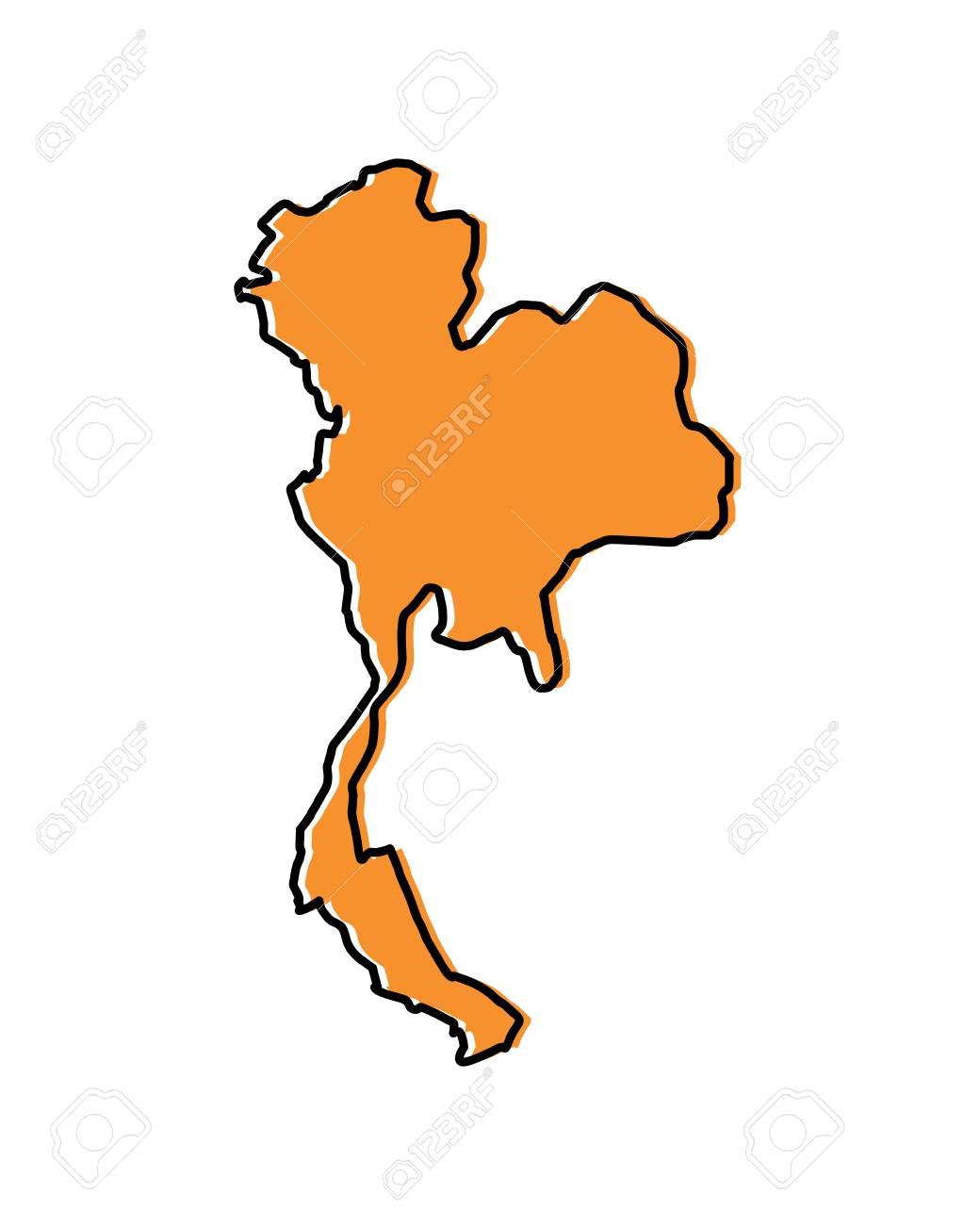 Thailand map location, Asia travel destination vector illustration