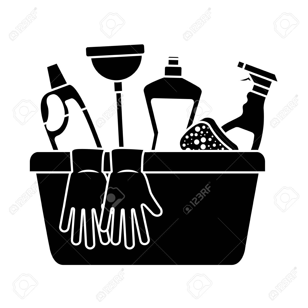 container with cleaning supplies gloves plunger sponge spray rh 123rf com cleaning products clipart free cleaning products clipart free