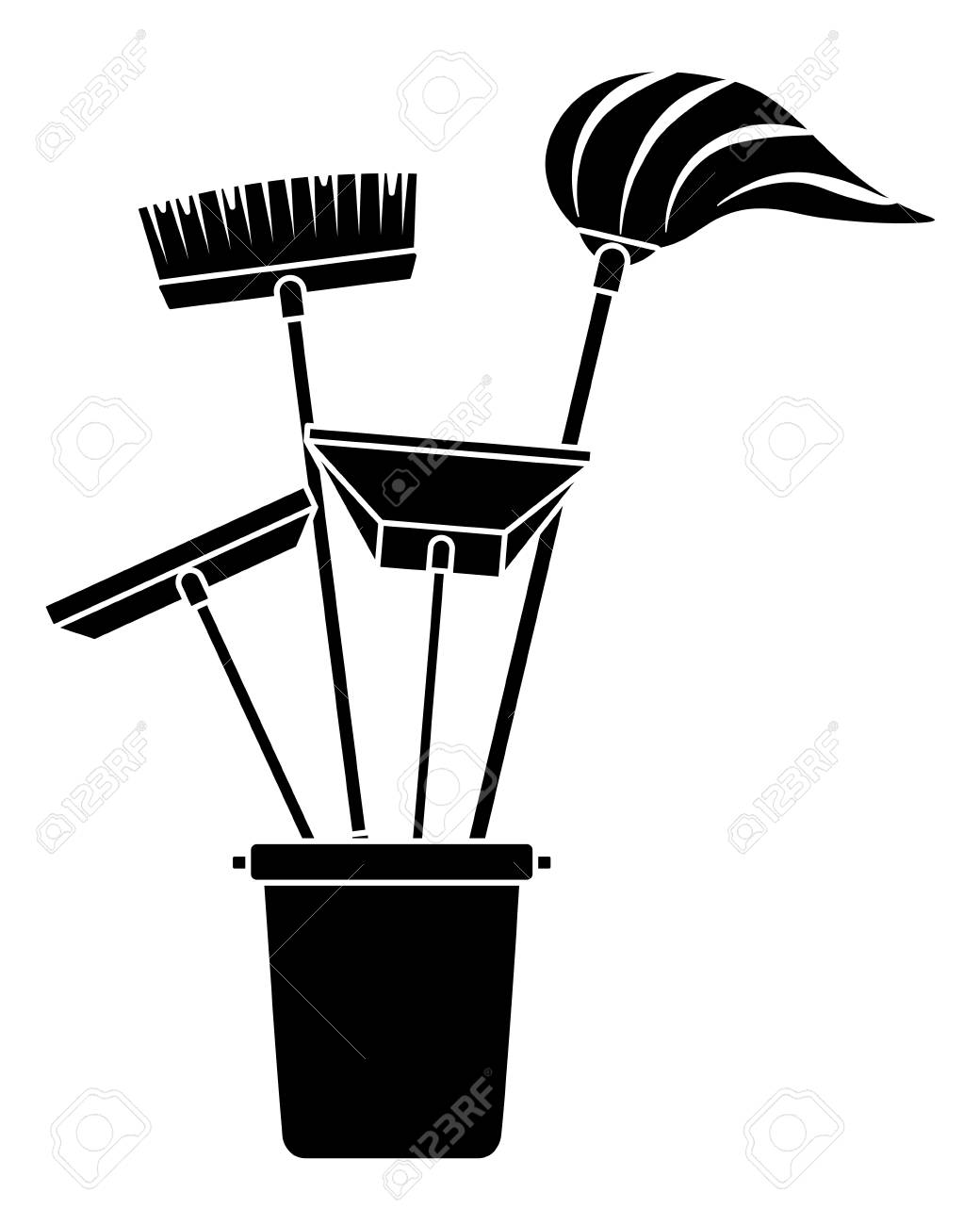 various cleaning objects in a plastic bucket for janitorial cleaning