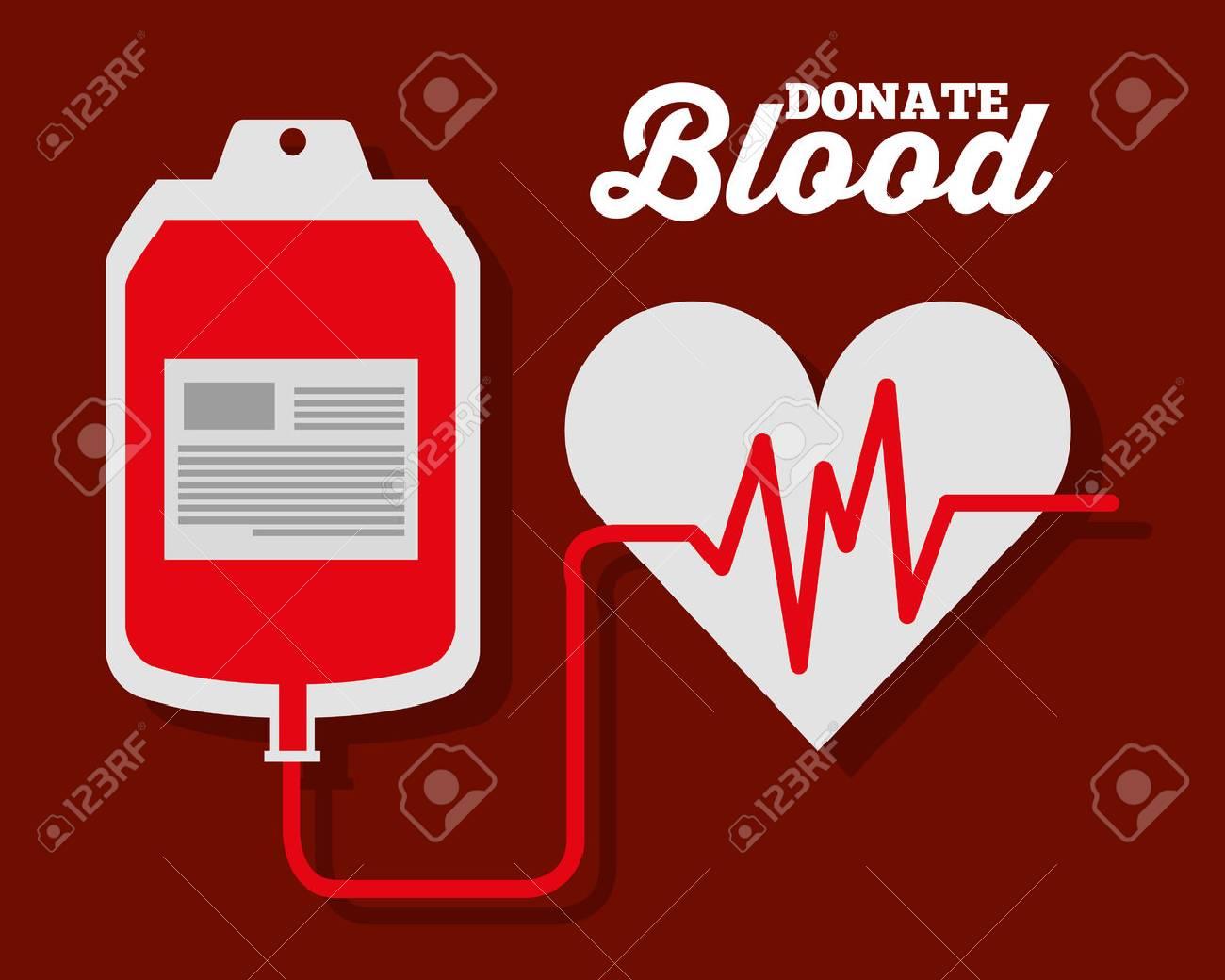 IV blood bag heart rate donate symbol vector illustration - 95603686