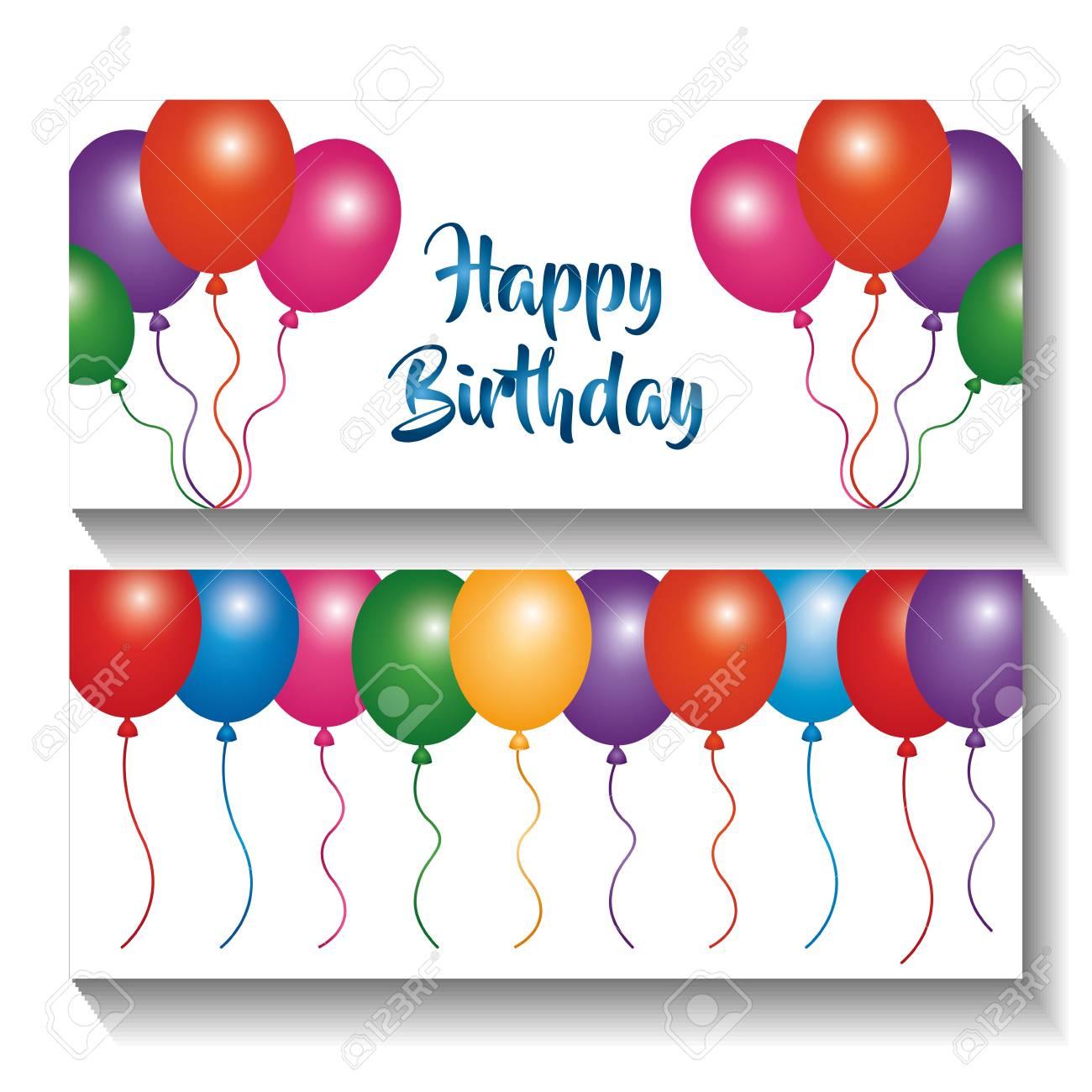 Happy Birthday Banners Invitation Multicolor Balloons Celebration ...