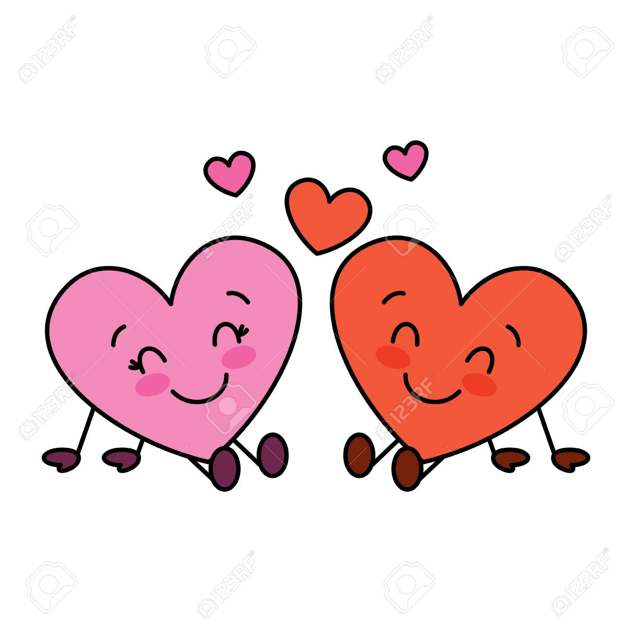 Cute Hearts Couple Sitting Cartoon Love Relationship Vector Illustration Royalty Free Cliparts Vectors And Stock Illustration Image 95753332