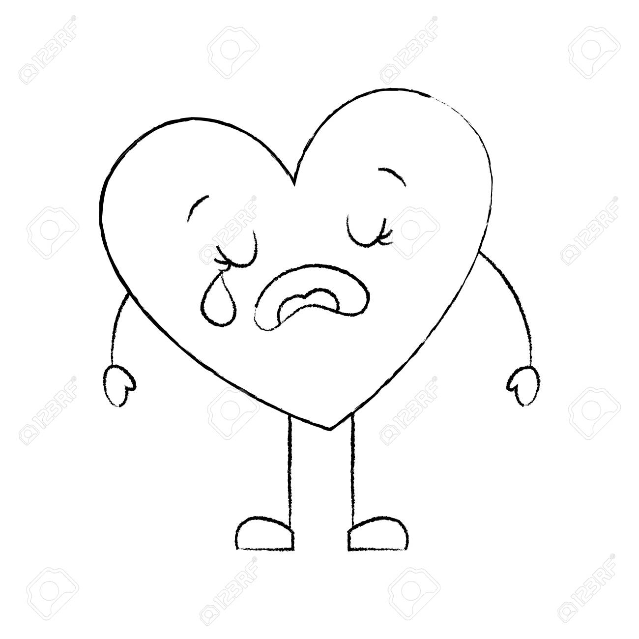 Cute cartoon heart love crying sad character vector illustration