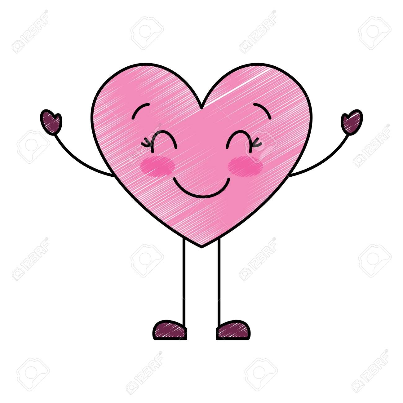 Cute Cartoon Heart Happy Character Vector Illustration Drawing Royalty Free Cliparts Vectors And Stock Illustration Image 95755482