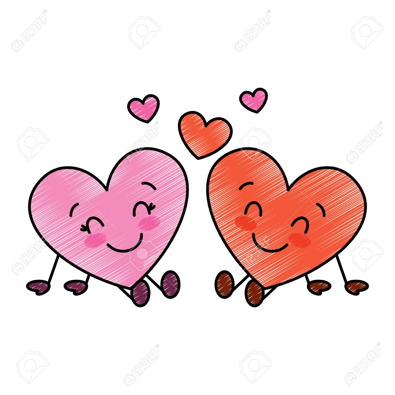 Cute hearts couple sitting cartoon love relationship vector illustration drawing image stock vector 95713527