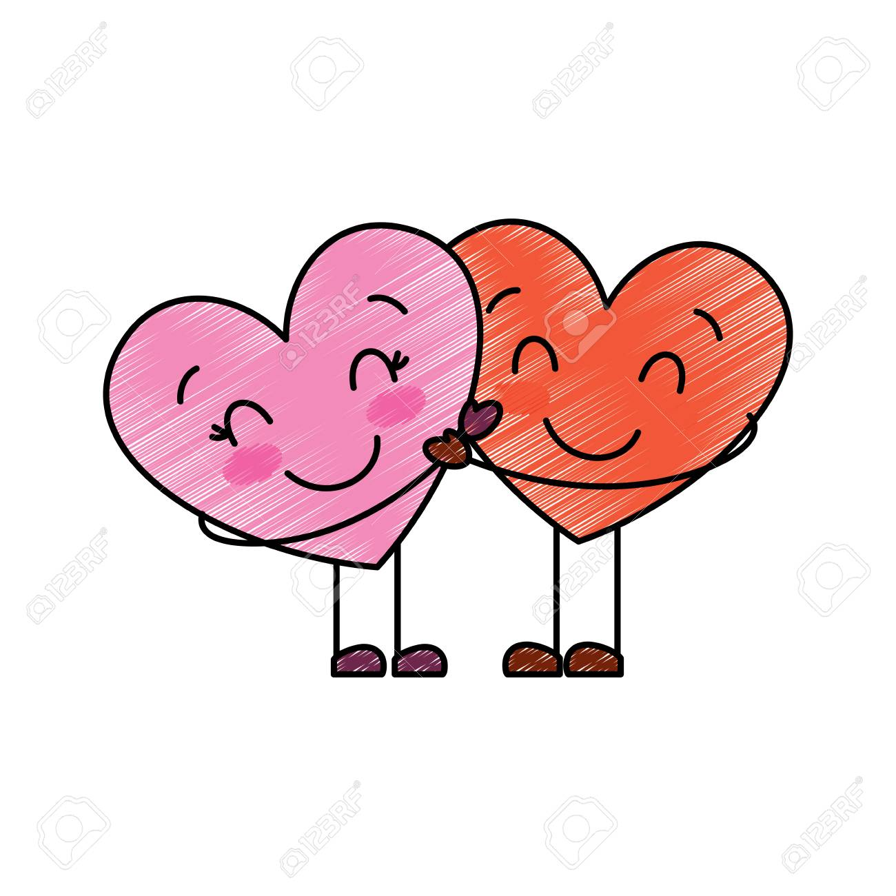 Couple In Love Two Cute Hearts Hugging Romance Vector Illustration Royalty Free Cliparts Vectors And Stock Illustration Image 95713530