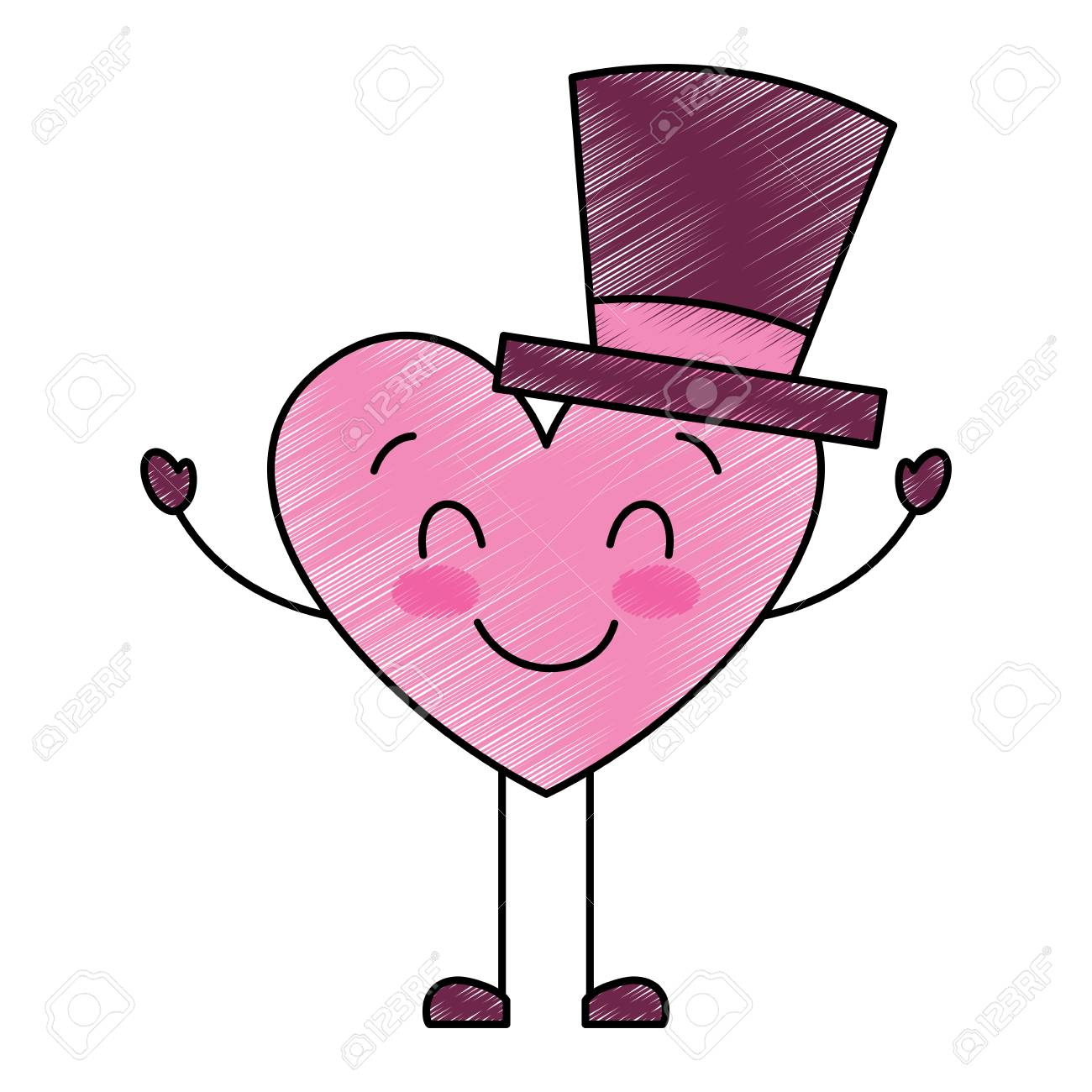 Cute Cartoon Heart In Love Wearing Top Hat Romantic Vector Illustration Royalty Free Cliparts Vectors And Stock Illustration Image 95713551