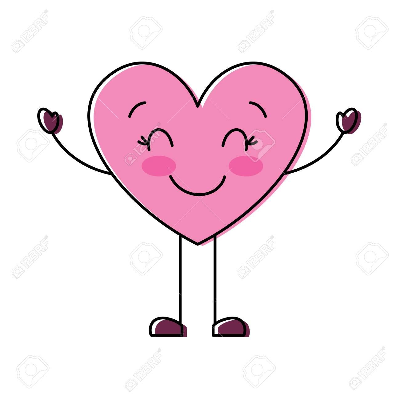 Cute Cartoon Heart Happy Character Vector Illustration Royalty ...