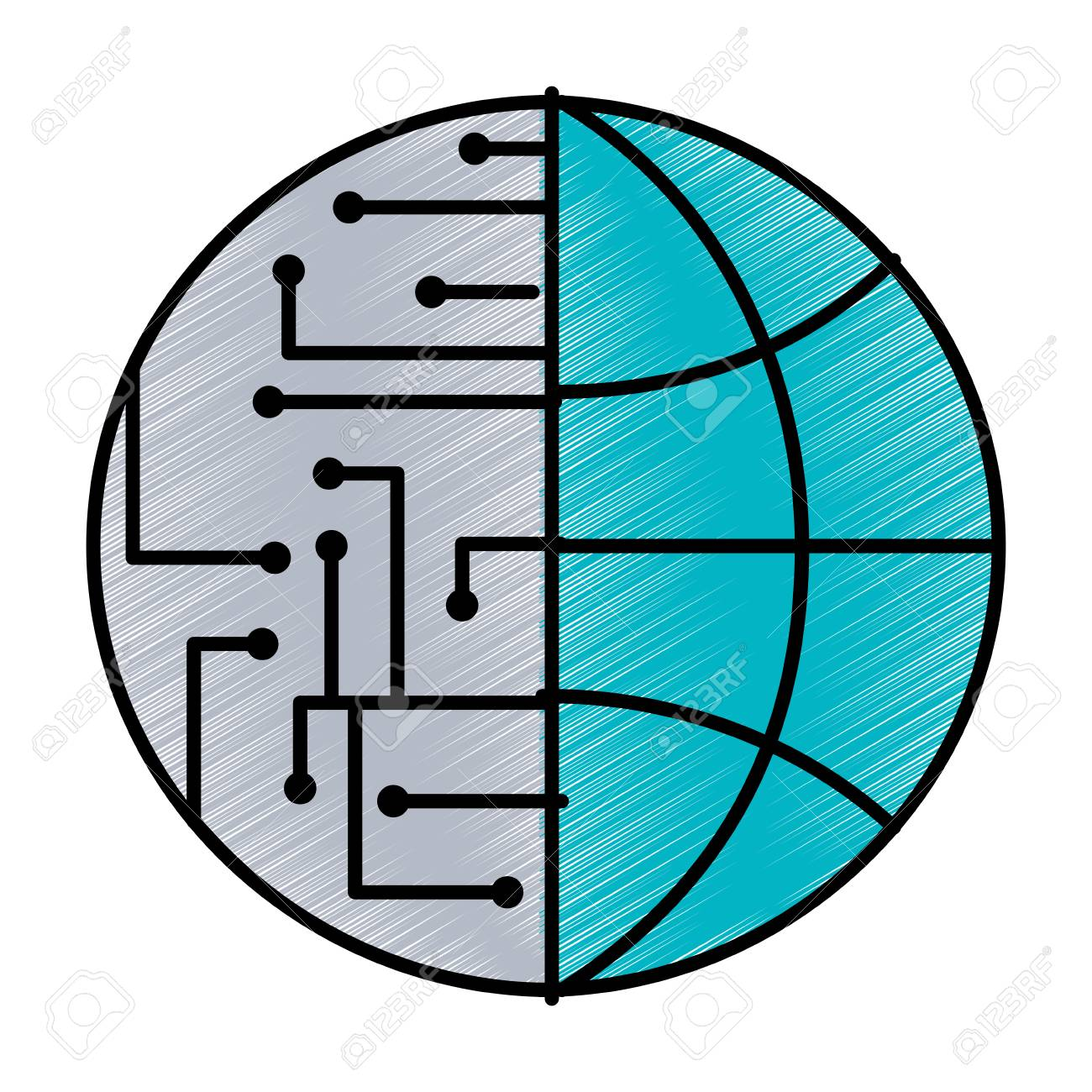 Technology World Globe Network Connection Circuit Vector ...