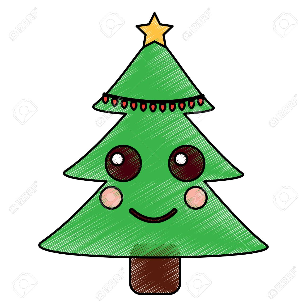 Christmas Tree Cartoon Smiling Vector Illustration Drawing Image