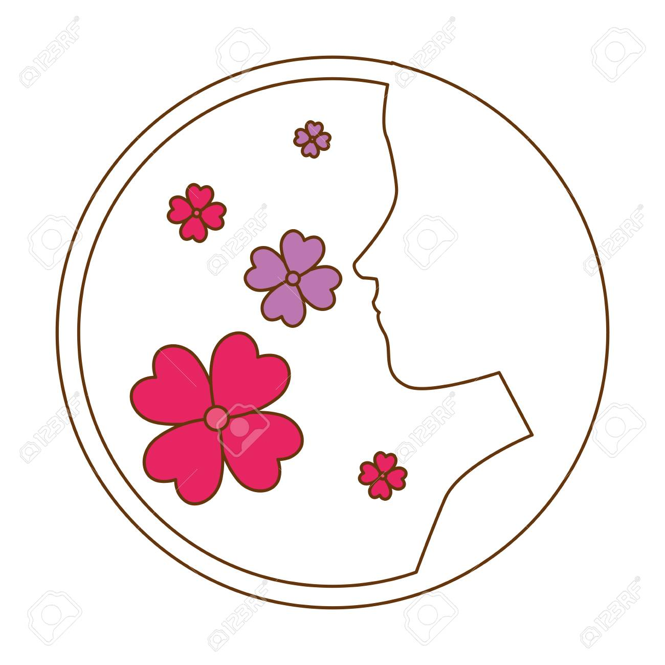 Beautiful woman profile with flowers silhouette vector illustration beautiful woman profile with flowers silhouette vector illustration design stock vector 95776386 izmirmasajfo