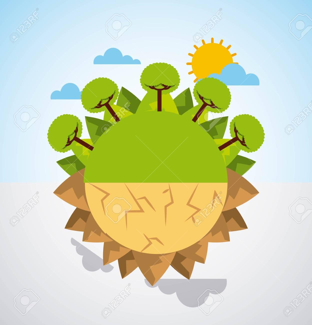 earth divided green landscape and desert scene warning vector illustration - 95908404