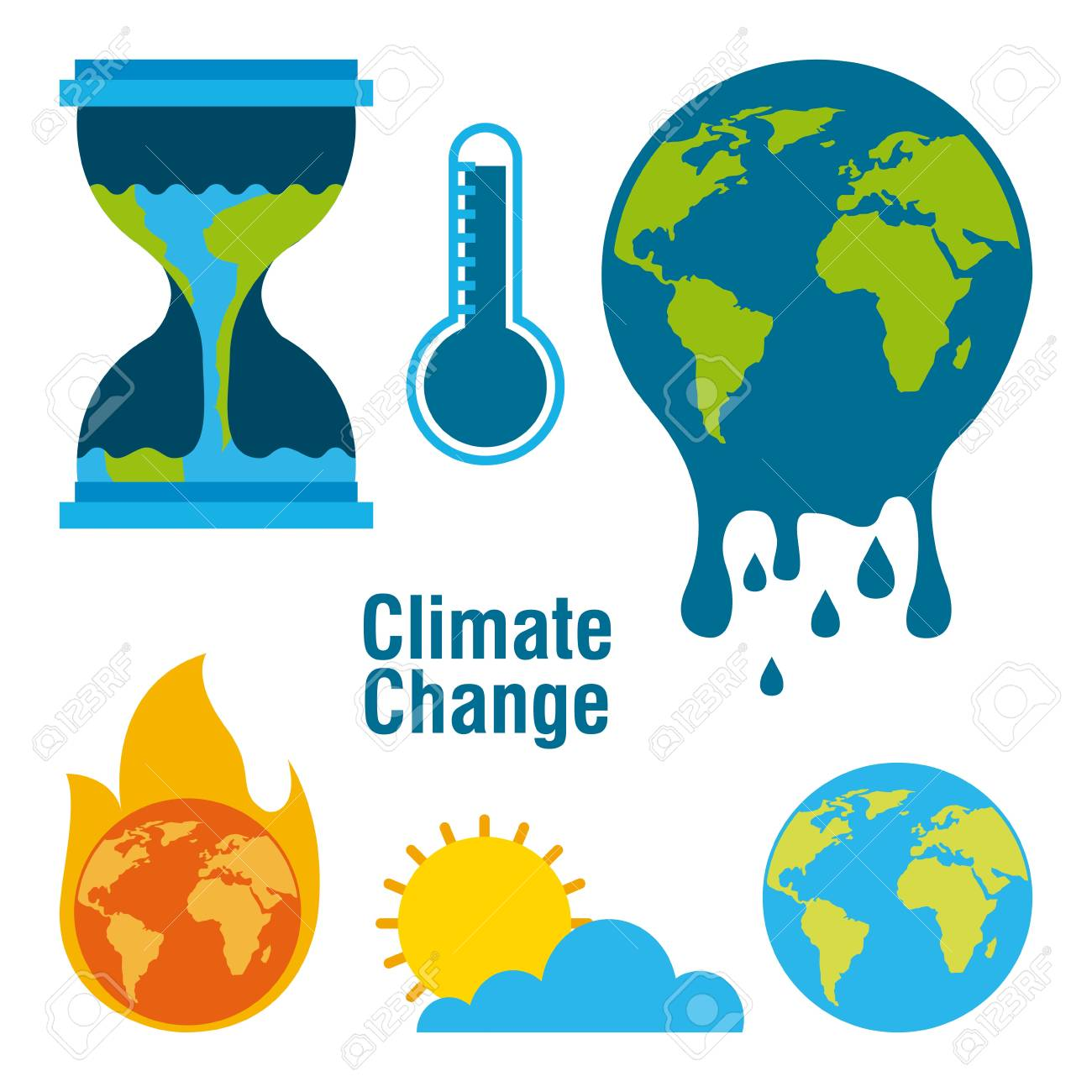 climate change temperature planet world fire melted time vector illustration - 95908449