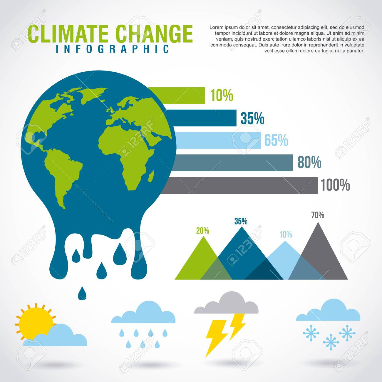 climate change infographic melted planet graphic chart vector illustration - 95908450