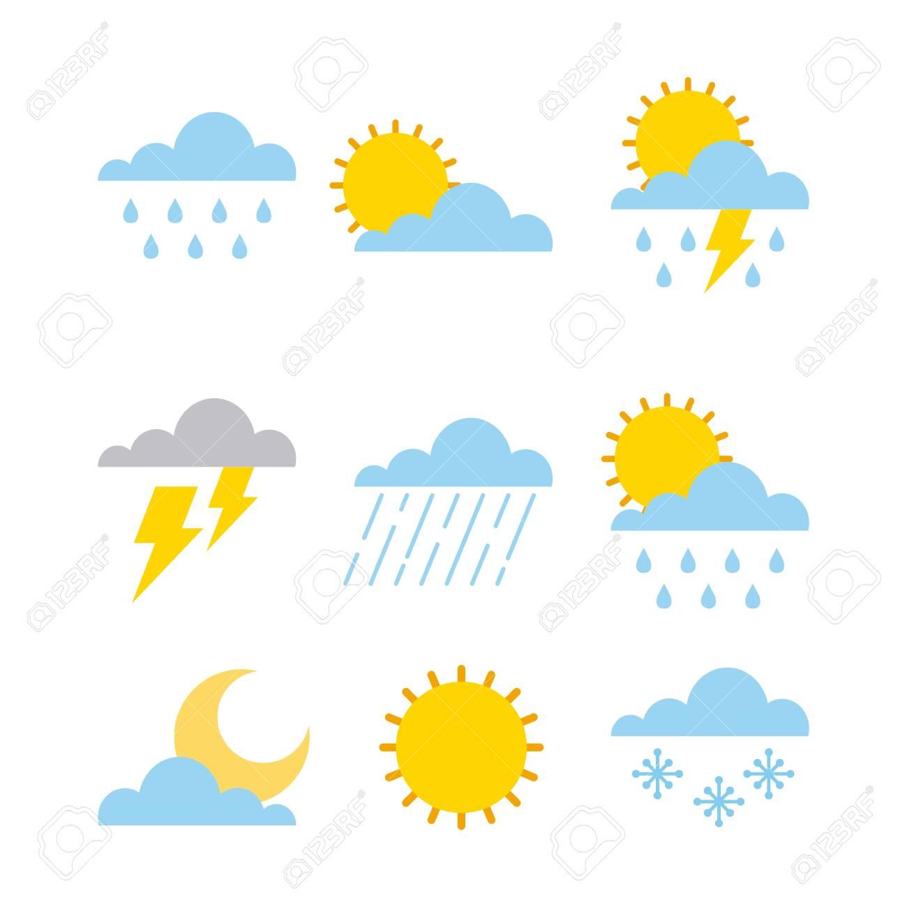 set of climate change clouds sun rain sky vector illustration - 95909355