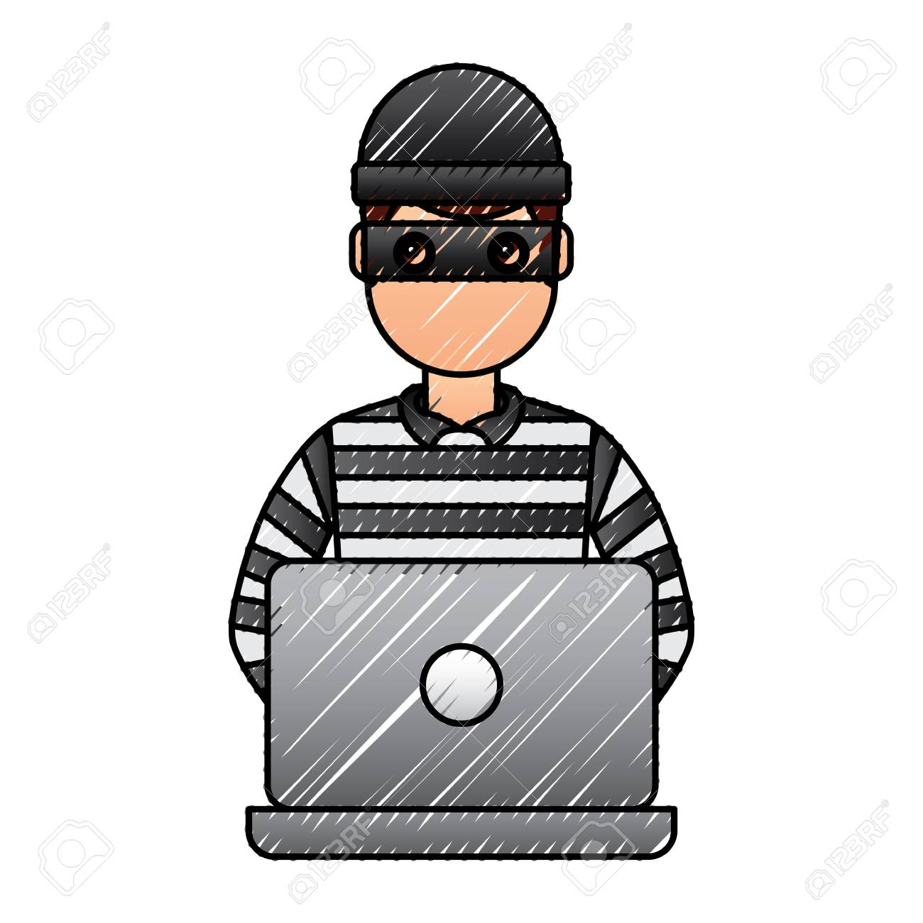 hacker male character working in laptop vector illustration drawing royalty free cliparts vectors and stock illustration image 96029937 hacker male character working in laptop vector illustration drawing