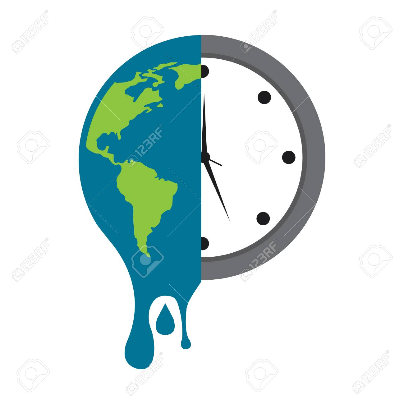 melting earth planet and clock time environment vector illustration - 96041669