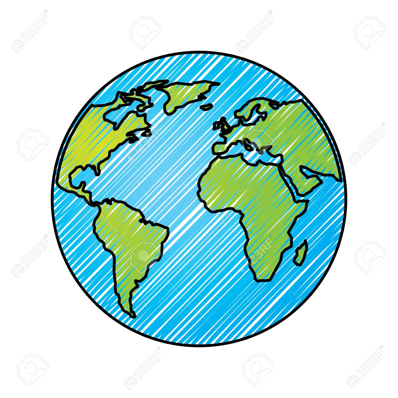 Globe world earth planet map icon vector illustration drawing graphic - 96066304