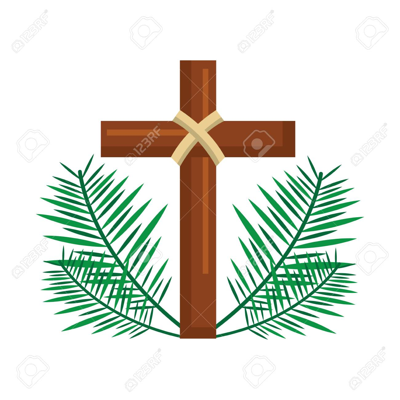 sacred cross religious with frond branches vector illustration - 96046697