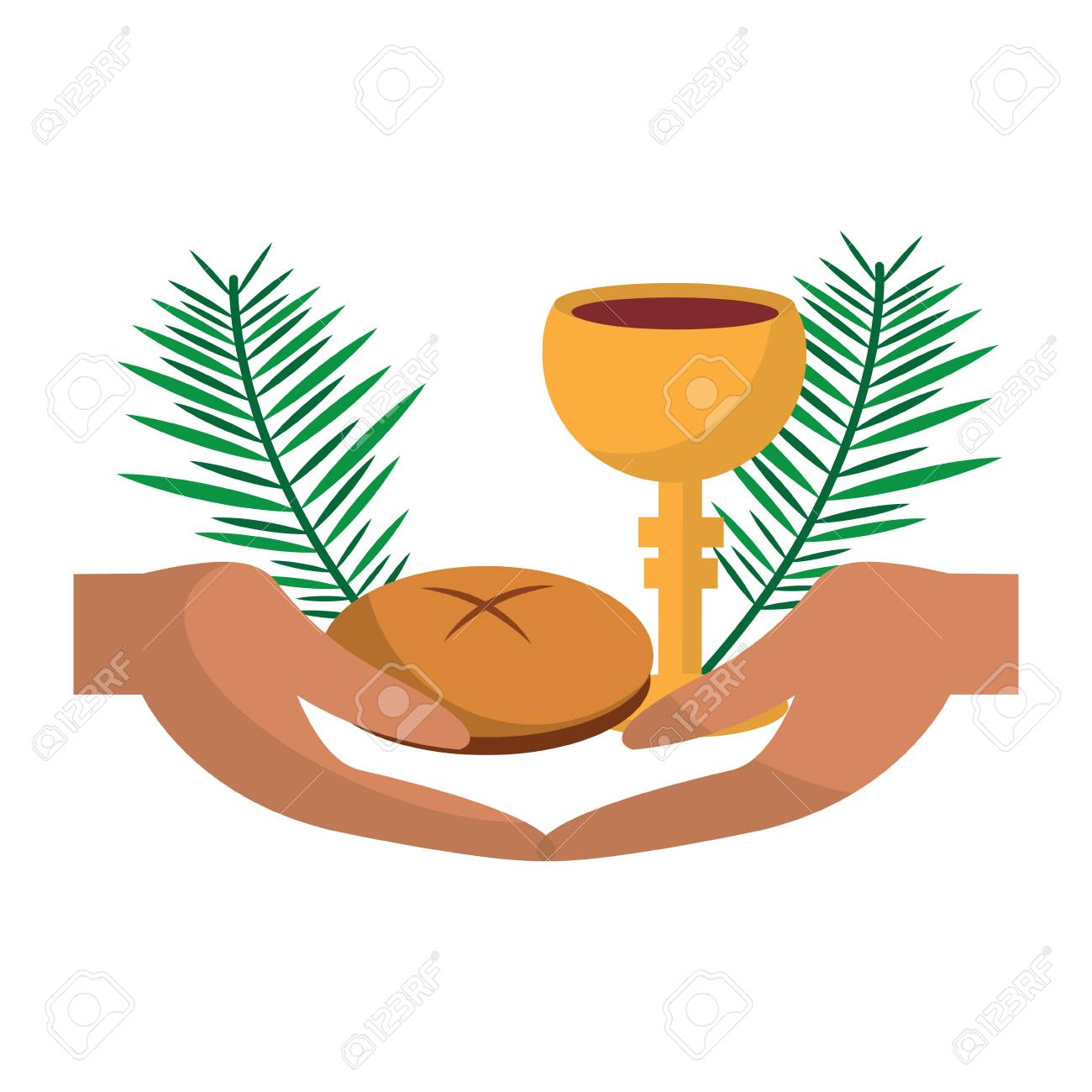 catholic tradition hand bread cup grail and palm branch vector illustration - 96046720