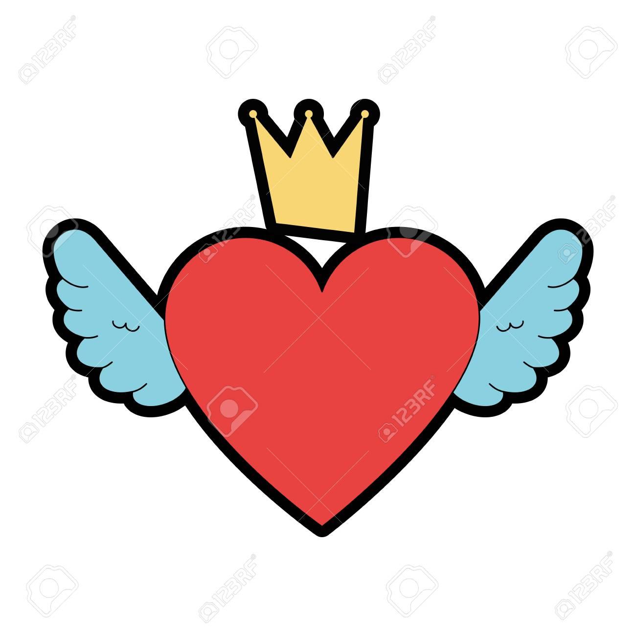 Amor Del Corazón Con Alas Y Corona De Ilustración Vectorial De