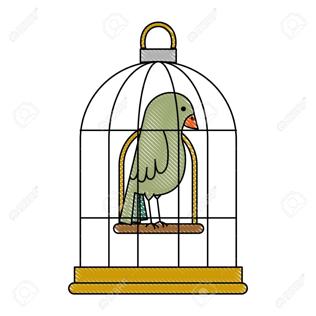 cute bird in cage vector illustration design royalty free cliparts