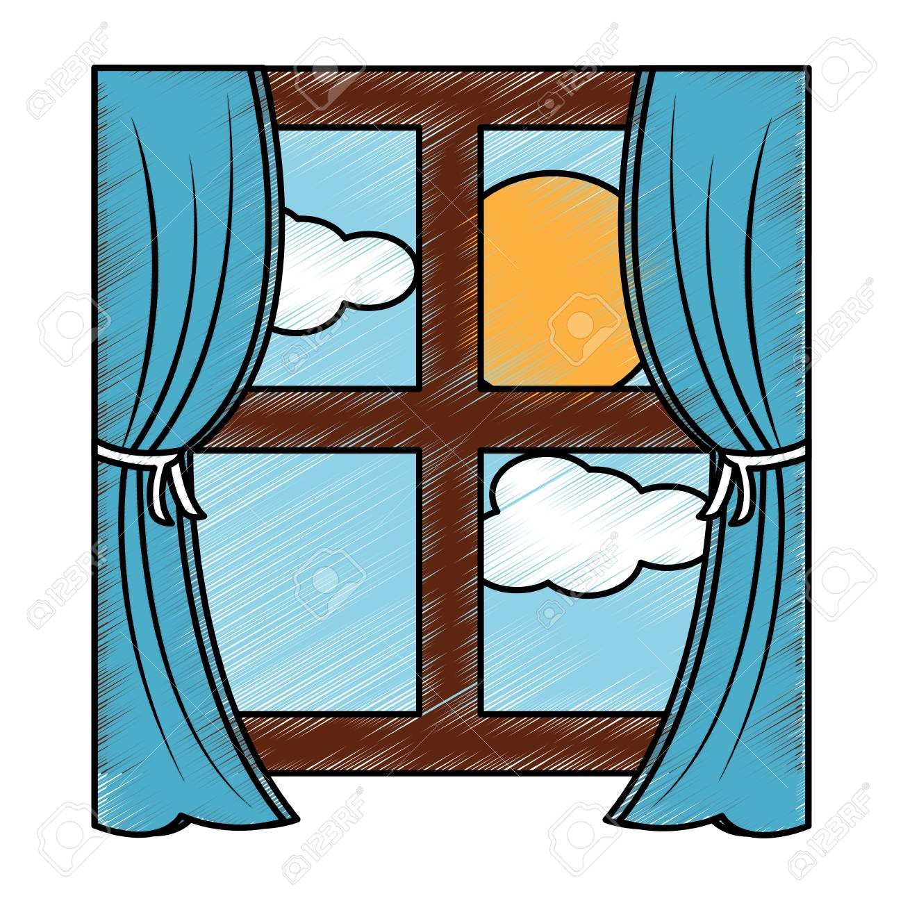 Wooden Window Frame With Curtains And Sun Clouds Sky Vector