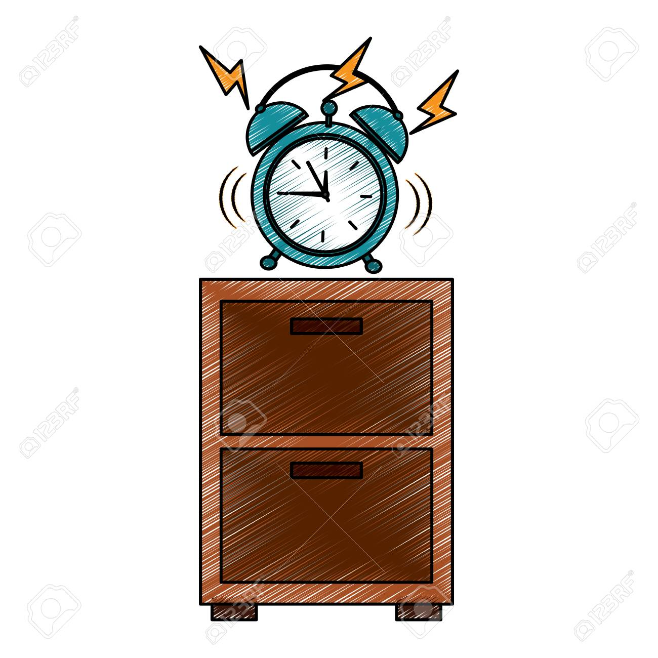 Bedside table clipart  Wooden Bedside Table Clock Alarm Ring Vector Illustration Drawing ...