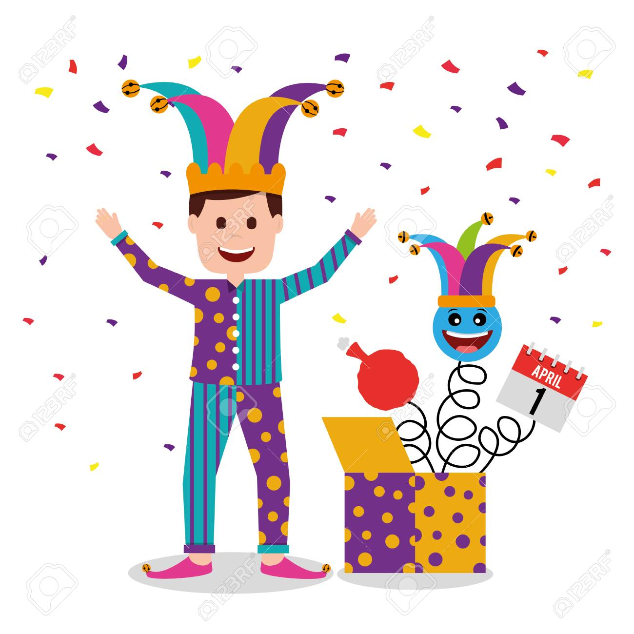 Man wearing clothes and jester hat jack in the box confetti. - 96285655