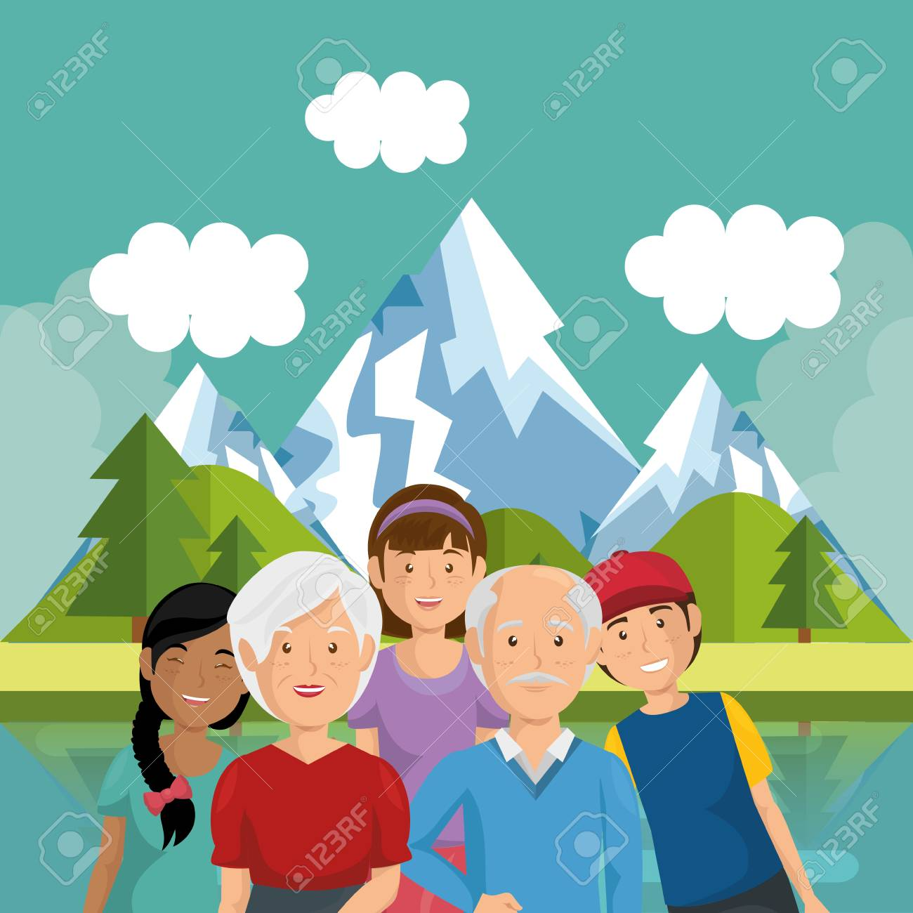 family members outside in landscape vector illustration design - 96196818