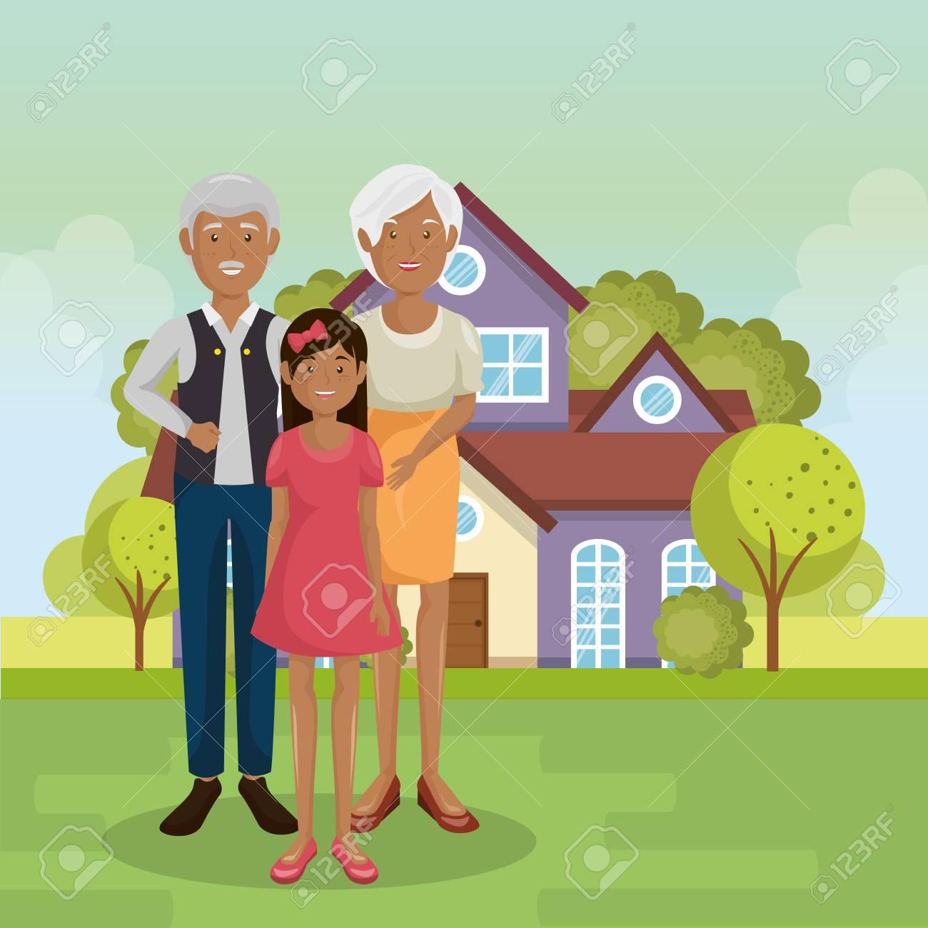 family members outside of the house vector illustration design - 96196834