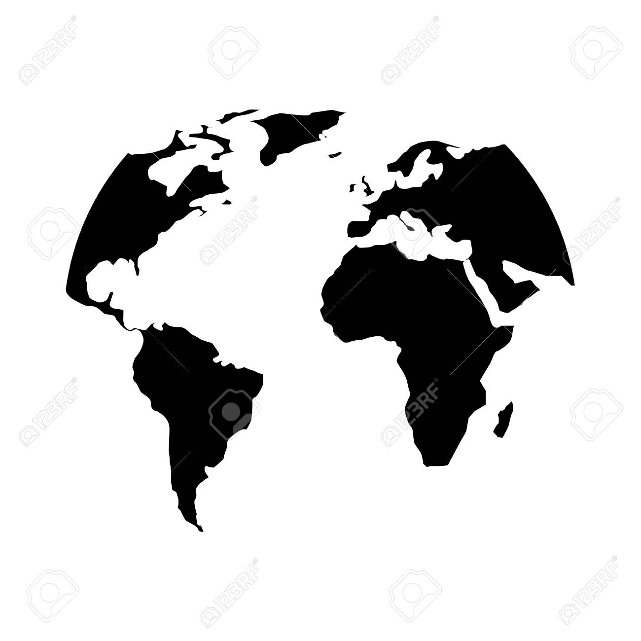 silhouette world map location planet vector illustration black..