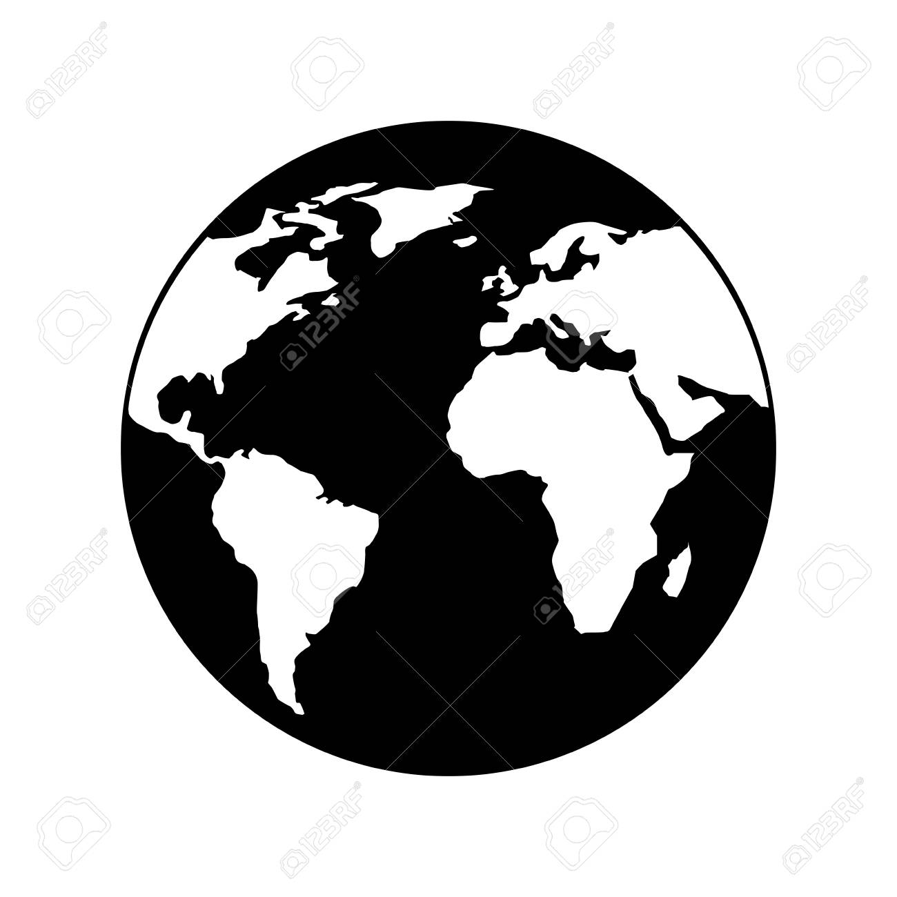 globe world earth planet map icon vector illustration black and white design - 96155212
